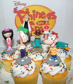 Amazon.com: Disney Phineas and Ferb Figure Set of 7 Deluxe Cake Toppers / Large Cupcake Decorations / Party Favors: Kitchen & Dining