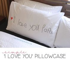 Sweet and simple: customize a pillow case. Getting a whole sheet set from sponsor #TuesdayMorning to do this for Father's Day.