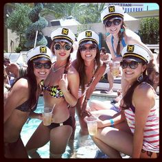 Cute bachelorette idea!  Striped shirts and captain hats! From my friend Antoinette.
