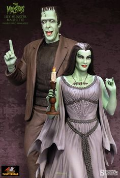 Grimm Reviewz: Horror Toy Tuesday: Herman and Lily Munster Maquet...