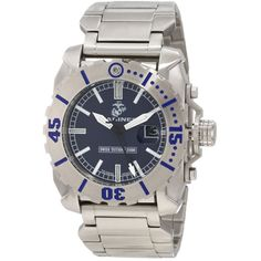 U.S. Marine Corps WA121 Men's Armor Swiss Tritium Sport Blue Dial Stainless Steel Dive Watch