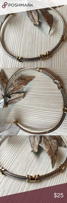 Choker in silver braid look with gold accents NWOT Nice sturdy choker with a braid look and gold plated accents Jewelry Necklaces