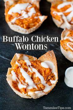 Wonton Appetizers, Wonton Recipes, Chicken Appetizers, Finger Food Appetizers, Easy Appetizer Recipes, Yummy Appetizers, Birthday Party Appetizers, Halloween Appetizers, Party Dips