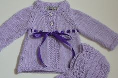 Hand Knit Matinee Baby Jacket and Bonnet     by fashionablekids, $55.00