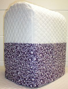 White Quilted Purple Ivy Vine Cover for 4.5, 5 and 6qt Kitchenaid Lift Bowl Stand Mixer w/6 Pockets
