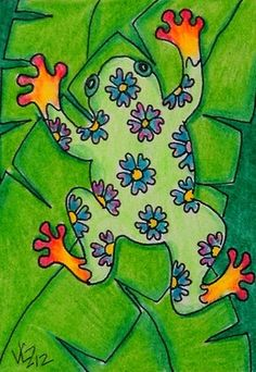 ABSTRACT TREE FROG ACEO ON EBAY