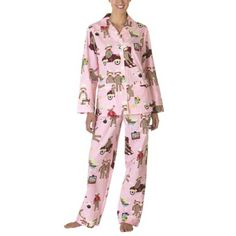 Nick & Nora® Poplin Sock Monkey Pajama Coat Set - Pink/Multi , totally gettin a new pair even if i have to get them myself!!!!!