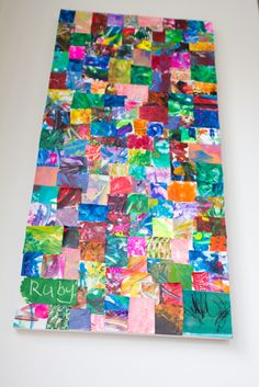 Cut up pieces of scribble-paintings, etc...the kids have done, and collage them together on a canvas - fun and colorful for playroom wall.