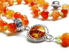 Orange Jade and Peridot Necklace, Swarovski Necklace, Orange & Green Gemstone Necklace