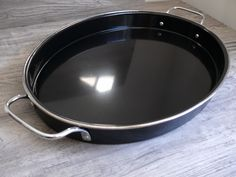 Old Dutch Black Metal Serving Decor Oval Tray Silver Tone Handles Bar Food Safe $48.99