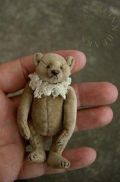 "Barbie, 3"" MINIATURE MINI VINTAGE STYLED ARTIST TEDDY BEAR BY AERLINN BEARS"