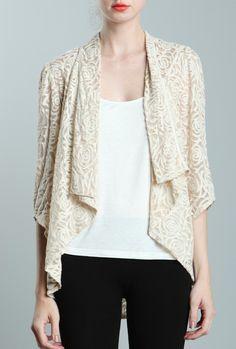 Parisian Garden Rose Pattern Lace Cascading Collar Jacket in Cream  $49.99