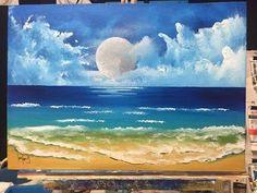 acrylic painting beach scene moon paintings tutorials beginners ocean paint canvas simple sky easy scenes beginner tutorial acrylics blossom cherry