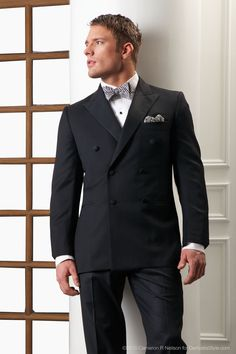 Kleinfeld MEN hand-made custom Midnight Super 120s Australian Merino Wool, 3 button, 2 to button, double-breasted Edwardian Style Tuxedo with Grosgrain peak lapel