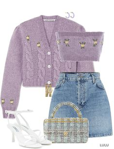 the lilac obsession continues Outfit Style Outfits, Kpop Fashion Outfits, Girls Fashion Clothes, Korean Outfits, Mode Outfits, Retro Outfits, Girly Outfits, Cute Casual Outfits, Look Fashion