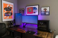 Home Office Furniture: Choosing The Right Computer Desk Gaming Desk Setup, Best Gaming Setup, Pc Setup, Computer Setup, Computer Rooms, Gaming Rooms, Home Office Setup, Home Office Space, Home Office Furniture