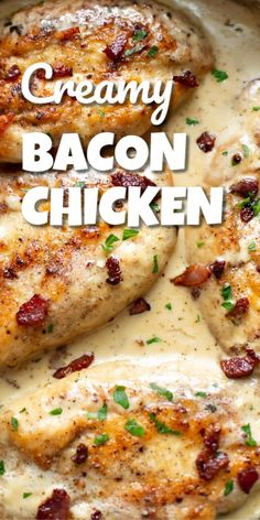 This creamy bacon chicken recipe is a decadent and delicious dinner thats easy enough for a weeknight and tasty enough for entertaining guests. Tender pan-fried chicken breasts are coated in a creamy bacon sauce. Its ready in about 30 minutes! Easy Chicken Dinner Recipes, Baked Chicken Recipes, Crockpot Recipes, Creamy Chicken Breast Recipes, Recipes With Bacon And Chicken, Creamy Bacon Chicken Pasta, Best Recipes For Dinner, Chicken Breats Recipes, Meal Ideas For Dinner