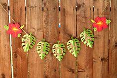 Tiki Luau Hawaiian Party Aloha Banner by PaperPartyParade on Etsy, $18.00