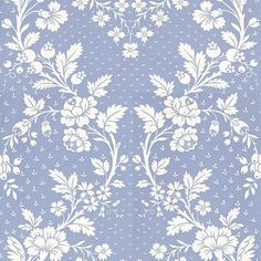 Pavillon (MLW2213-02) - Lorca Wallpapers - A grand scale ogee trellis of monochrome florals. Shown here in sky blue/white. More colours are available. Please request a sample for true colour match. Wide width.