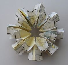 "For those of you in the San Diego area, I will be teaching an origami book structure I invented called "" The Road to Spring "" on September Michael Art, Recycled Art, Repurposed, Origami Stars, Paper Folding, Book Making, Map Art, Bookbinding, Art Blog"