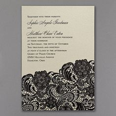 Dramatic black embossed lace on these vintage wedding invitations creates such a romantic presentation. Explore the design possibilities with your choice of text color. Vintage Wedding Invitations, Elegant Invitations, Wedding Stationery, Vintage Weddings, Msv, Wedding Trends, Wedding Ideas, Deco, Dream Wedding