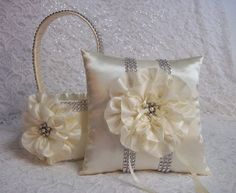 2 Ivory Flower Girl Baskets / Matching Ring by AllAHeartDesires