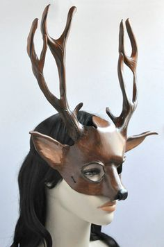 Mxs Leather Deer Mask Costume for Masquerade Halloween by HawkandDeer $121.00