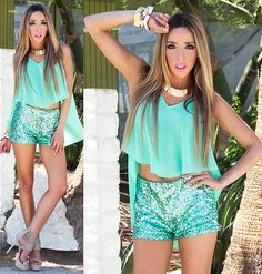 Haute & Rebellious Mint Sequin Shorts, Haute & Rebellious High Low Cropped Chiffon Top, Haute & Rebellious Bangles And Bracelets Glitter Shorts, Sequin Shorts, Live Fashion, Passion For Fashion, Coral Blazer, Lingerie, Street Chic, Street Style, Spring Summer Fashion