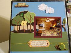 scrapbook layout using: Cricut Cartridges outdoors man, campin critters, and create a critter. Cuttlebug embossing folder. Pebbles felt embellishments
