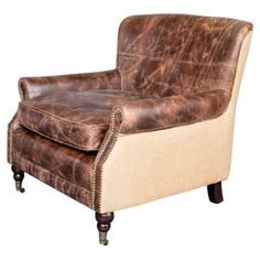 Check out this item at One Kings Lane! Downtown Leather Club Chair, Brown