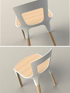 La Silla uek ,quiere representar esa pureza natural de los materiales con la esencia de la madera  combinada con la forma orgánica que representa las formas en inyección de plástico.