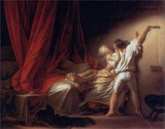 Page: The Bolt  Artist: Jean-Honore Fragonard  Completion Date: c.1778  Style: Rococo  Genre: genre painting  Technique: oil  Material: canvas  Dimensions: 93 x 73 cm  Gallery: Louvre