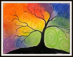 With a lovely pastel colored sky, this landscape with swirls project is a wonderful addition to color mixing lessons. Fall Art Projects, Auction Projects, Auction Ideas, Intermediate Colors, Tree Artwork, Tree Paintings, 8th Grade Art, Jr Art, Watercolor Techniques