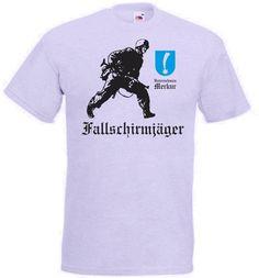 T-Shirt Fallschirmjäger V Unternehmen Merkur mit Soldat in der Farbe grau / mehr Infos auf: www.Guntia-Militaria-Shop.de