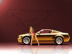 Gold New Ford Mustang and hot girl in pink bikini     http://illegalSeductionTechnique.com