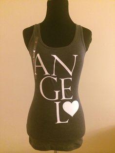 RARE Victoria's Secret ANGEL Gray Bling Studs Glitter T Shirt Tee Tank Top  SMAL #VictoriasSecret #TANKTOP