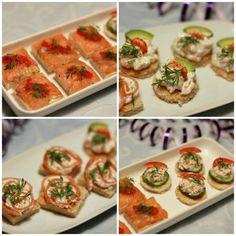 Nytårsforret: 4 slags kanapeer med fisk og skaldyr   Ellevild Madblog Tapas, Buffet, Sandwiches, Brunch Party, Fish Dishes, Appetisers, Finger Foods, Appetizer Recipes, Food Inspiration