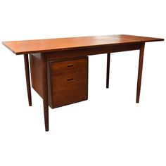 Arne Vodder Style Single Pedestal Drop-Leaf Teak Desk | From a unique collection of antique and modern desks at https://www.1stdibs.com/furniture/storage-case-pieces/desks/