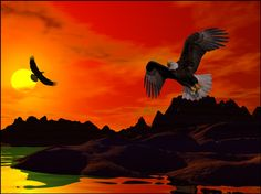 Eagle Shore is another photograph/3D render of eagles above water.