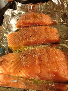 Put your salmon on a foil lined baking sheet. Drizzle with olive oil salt and pepper. Put the salmon in a cold oven turn onto 400 degrees and set the timer for 25 minutes. After 25 minutes you will have perfect flaky delicious salmon