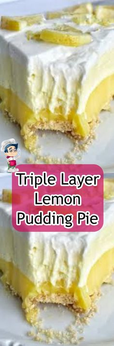 Triple Layer Lemon Pudding Pie {no bake} Creamy Cauliflower Soup, Creamy Garlic Chicken, Sweet Recipes, Real Food Recipes, Cake Recipes, Easy Desserts, Delicious Desserts, Yummy Food, Chocolate Oats