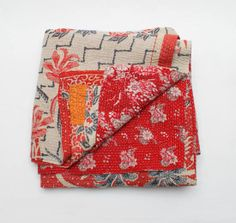 New Kantha Quilt / Throw / Bedspread in soft vintage cotton  Free UK P&P