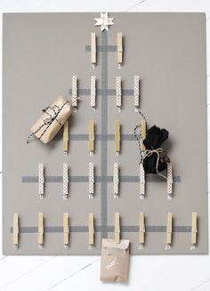 DIY Advent Calendar {Washi Tape and Clothespin!} Clothes pin advent calendar via Stylizimo Diy Xmas, Diy Christmas Tree, Christmas Card Holders, All Things Christmas, Christmas Tree Decorations, Christmas Holidays, Xmas Cards, Xmas Trees, Christmas Mail