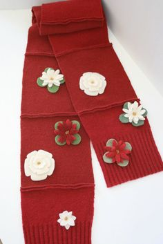 Wool Scarf Long Sweater Felted Wine Flowers by OgsploshAccessories, $42.00