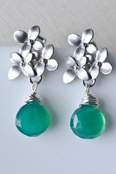 Emerald Green Quartz Earrings, Silver Cherry Blossom Earrings .925 Sterling Silver Earring Post