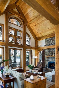 west lake timber frame home great room windows by riverbend timber framing