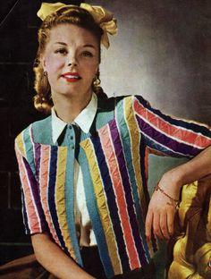 1940s Fashion, Vintage Fashion, Vestidos Vintage, Look Vintage, Vintage Knitting, Knitting Patterns, Pdf Patterns, Knitting Ideas, Crochet Patterns