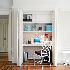 Small Space Storage Ideas: If there's no space for a separate office, turn a closet into one. When you're done with your work, simply close the doors.