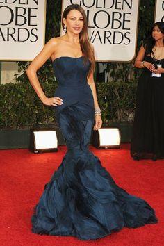 Sofia Vergara in Vera Wang   10 Best Golden Globe Dresses   Camille Styles