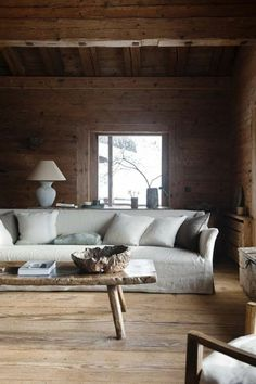 Cabin Living Room Design by Axel Vervoordt decorating home design decorating before and after interior design Home Living Room, Living Room Designs, Living Spaces, Modern House Design, Interiores Design, Home Interior Design, Modern Interior, Architecture Design, Axel Vervoordt